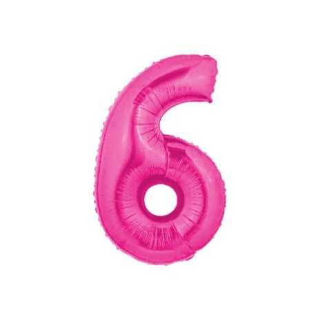 Ballon Géant Alu Rose Fushia 6 Ans Fête d'Anniversaire