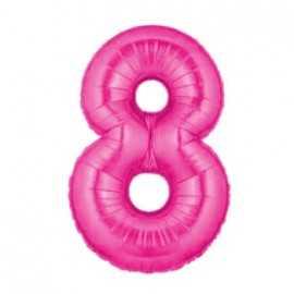 Ballon Géant Alu Rose Fushia 8 Ans Chiffre Fête d'Anniversaire enfant