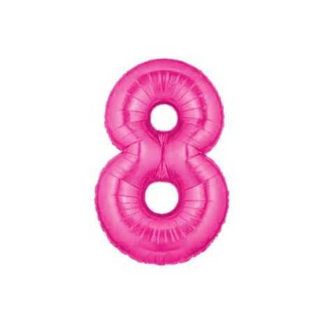 Ballon Géant Alu Rose Fushia 8 Ans Fête d'Anniversaire