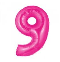 Ballon Géant Alu Rose Fushia 9 Ans Fête d'Anniversaire