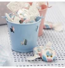 Seaux Contenants Rose et Bleu Poussette Baby Shower, Naissance ou Baptême