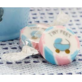 Bonbon Rose et Bleu avec motif Poussette Tiny Feet