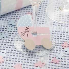 Marques Verre ou Place en Papier Poussette Rose et Bleu