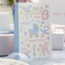 5 Sachets Cadeaux Invités Poussette Rose et Bleu
