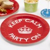 Assiettes jetables Keep Calm and Party On Anniversaire