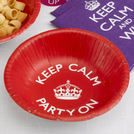 Assiettes creuses - bols jetables Keep Calm and Party On Anniversaire