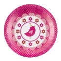 Grandes assiettes A Little Bird Rose Fushia