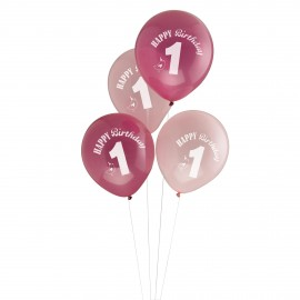 Ballons Latex Premier Anniversaire Thème A Little Bird Rose Fushia