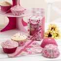 Moules à Cup cakes en papier Rose à fleurs et rose fushia à pois