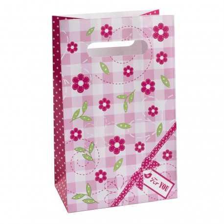 Sachets cadeaux invités en papier à Thème A Little Bird Rose Fushia