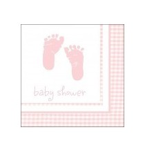 Serviettes  Baby Shower Vichy Rose