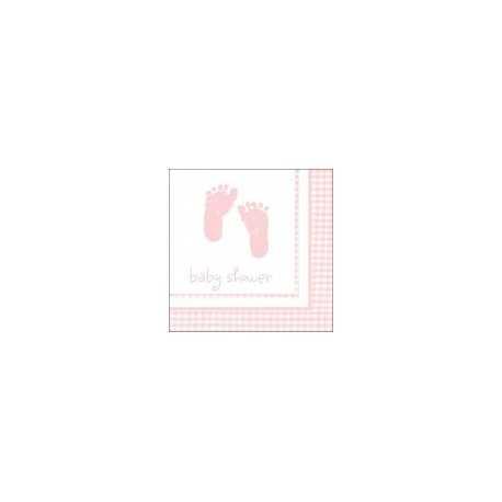 Serviettes Baby Shower Vichy Rose