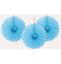 3 mini Rosaces Eventail Bleu Clair 15cm Papier de Riz