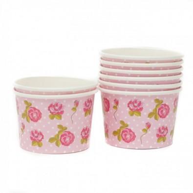 petits pots papier liberty avec fleur rose sur fond rose clair à pois