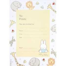 8 Invitations Baby Miffy