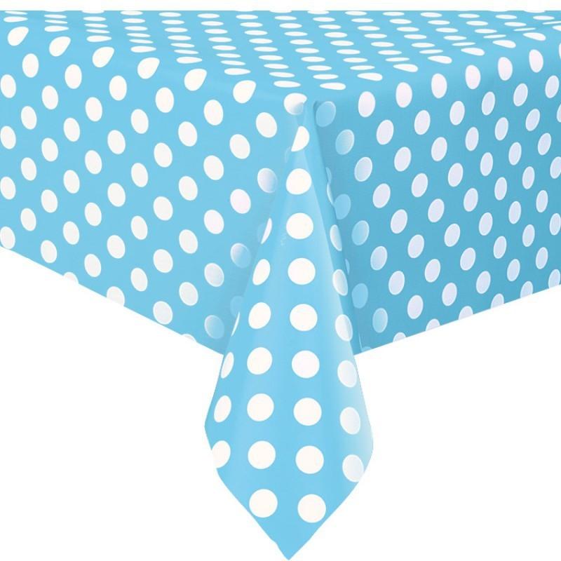 nappe plastique bleu pois blanc lavable pour votre f te nappage. Black Bedroom Furniture Sets. Home Design Ideas