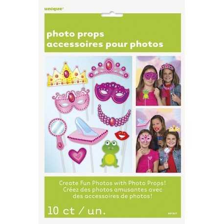Kit 10 accessoires Photobooth Anniversaire Princesse