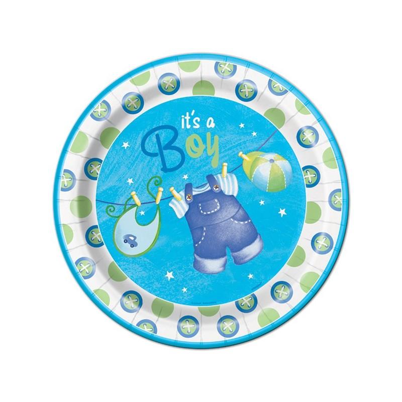 assiettes vaisselle jetable de baby shower c 39 est un gar on it 39 s a boy. Black Bedroom Furniture Sets. Home Design Ideas