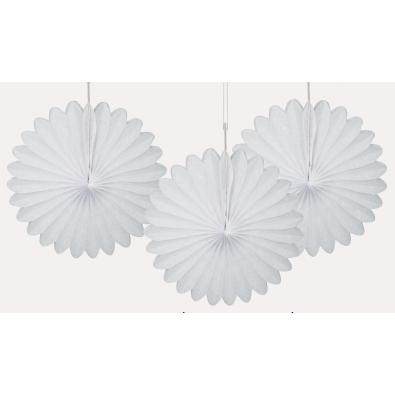 3 mini Rosaces Eventail Blanc 15cm Papier de Riz