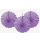 3 mini Rosaces Eventail Parme 15cm Papier de Riz
