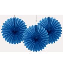 3 mini Rosaces Eventail Bleu de fête 15cm Papier de Riz