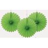 3 mini Rosaces Eventail Vert 15cm Papier de Riz
