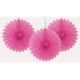 3 mini Rosaces Eventail Rose 15cm Papier de Riz