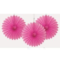 3 mini Rosaces Eventail Rose 15cm Papier de Riz