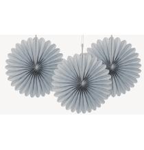 3 mini Rosaces Eventail Gris 15cm Papier de Riz