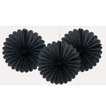 3 mini Rosaces Eventail Noir 15cm Papier de Riz