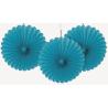 3 mini Rosaces Eventail Bleu Turquoise 15cm Papier de Riz