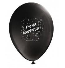 Ballon Joyeux Anniversaire (en français) à l'unité noir