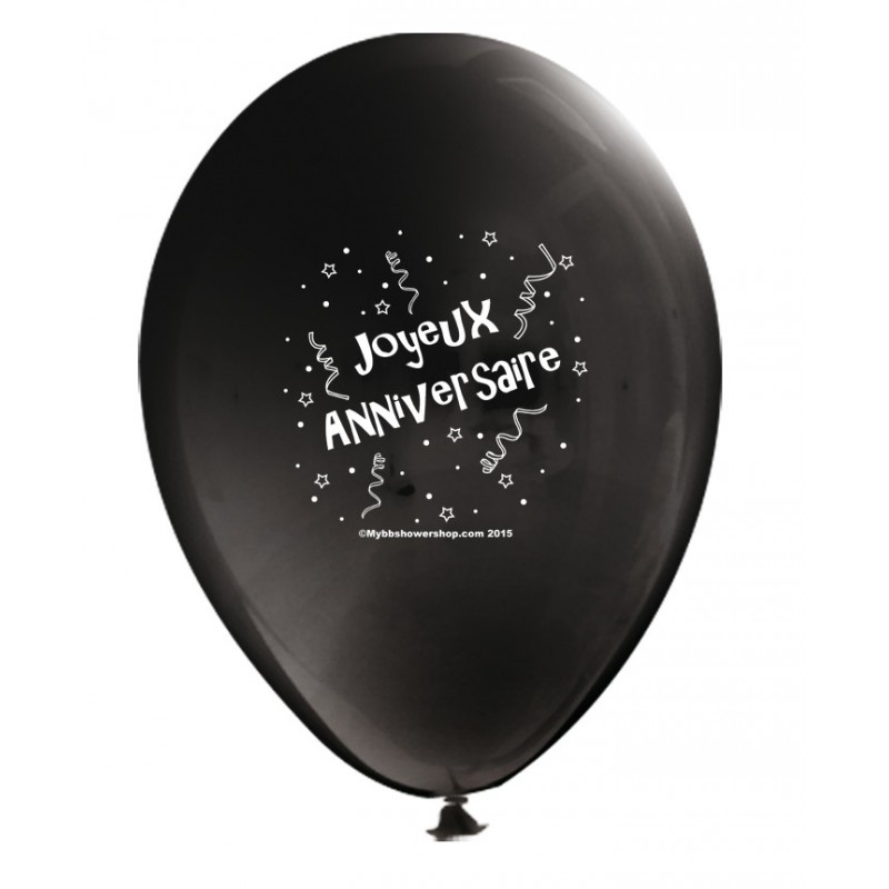ballon joyeux anniversaire noir d coration go ter d 39 anniversaire. Black Bedroom Furniture Sets. Home Design Ideas