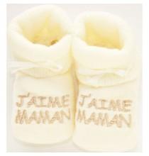 Chaussons bébés J'aime Maman couleur ivoire