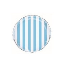 Ballon Alu Rayé Bleu Clair et Blanc