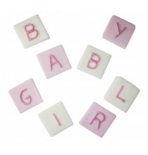 Décorations en Sucre Lettres Baby Girl Rose