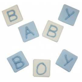 Décorations en Sucre Lettres Baby Boy Bleu