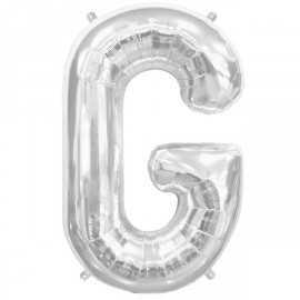 Ballon 1 mètre G Alu Lettre Gris Argent Mylar