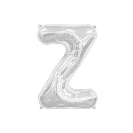 Ballon 1 mètre Z Alu Lettre Gris Argent Mylar