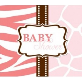 8 Invitations Baby Shower Safari rose + Enveloppe