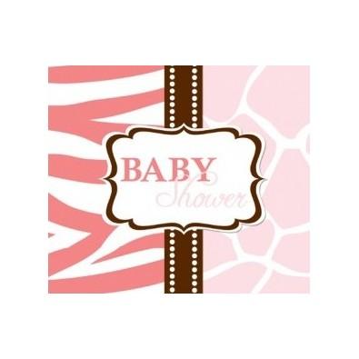 8 Invitations Baby Shower Safari rose + Enveloppe