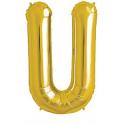 Ballon 1 mètre U Alu Lettre Dorée Mylar