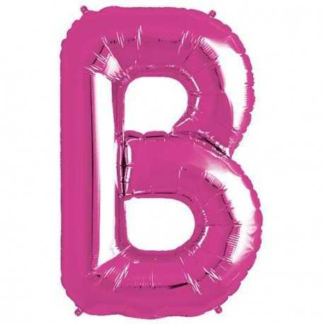 Ballon 1 mètre B Alu Lettre Rose Fushia Mylar