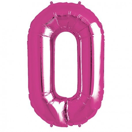 Ballon 1 mètre O Alu Lettre Rose Fushia Mylar