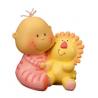 Figurine Bébé Fille avec Peluche Lion