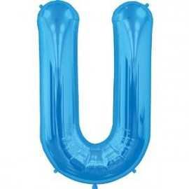 Ballon 1 mètre U Alu Lettre Bleu