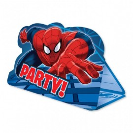 8 Invitations Spiderman avec enveloppes rouges