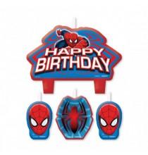 4 Bougies pour Gâteau Spiderman Anniversaire