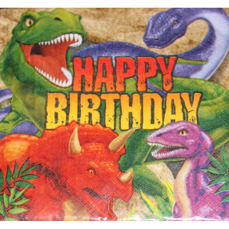 serviettes en papier anniversaire dinosaure tyrannosaure tyrex