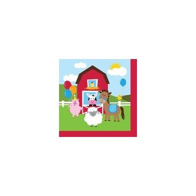 Serviettes en papier sur le th me anniversaire animaux de la ferme - Pliage serviette animaux ferme ...